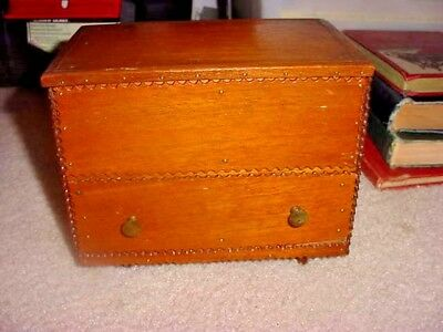 VINTAGE / ANTIQUE FOLK ART TRAMP ART LIFT TOP BOX w DRAWER MADE OF CIGAR BOXES