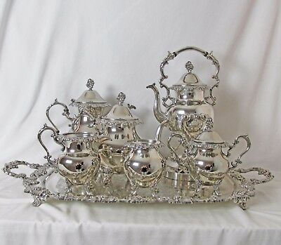 Complete Silver Plated 7 Pc Tea & Coffee Set Grape Design Birmingham Silver Co