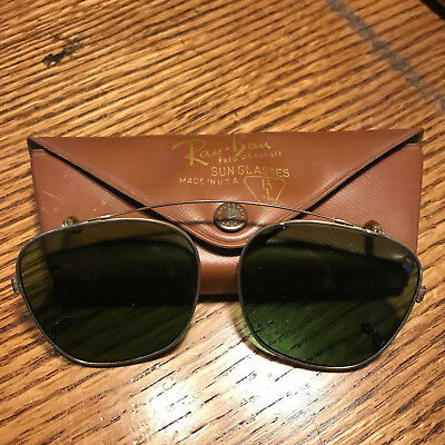 Vintage B & L Bausch & Lomb Ray Ban Clip On Over Aviator sunglasses w/ org Case
