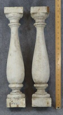 posts turned wood grungy balusters white paint architectural antique original