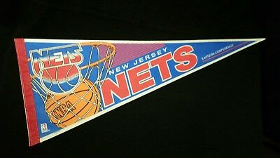 NEW JERSEY NETS Felt full size Vintage PENNANT flag BASKETBALL
