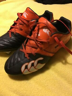 Canterbury two tone rugby boots, black and orange size 5
