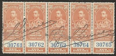 Revenue Stamps Canada # FEG 7, $10, 1930, light, lot of 5 used stamps.