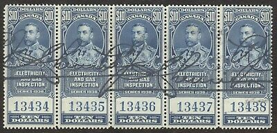 Revenue Stamps Canada # FEG 11, $10, 1930, light, lot of 5 used stamps.
