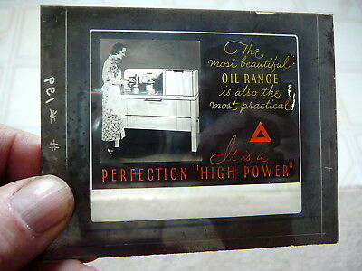 "Perfection Oil Ranges Stoves   - Antique Glass Theatre Color Slide 3.25"" X 4"""