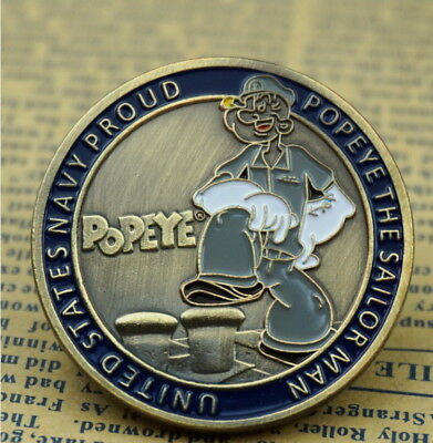 American Comic Popeye the Sailor US Navy Proud USN Honor Bronze Challenge Coin