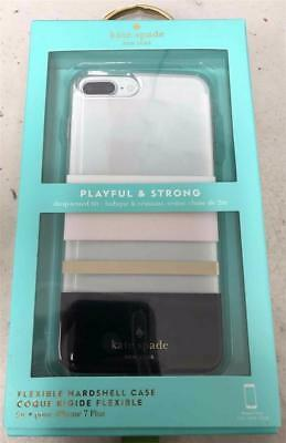 New KATE SPADE NY Charlotte Stripe Black/Cream/Clear Case iPhone 8+ Plus 7+ Plus