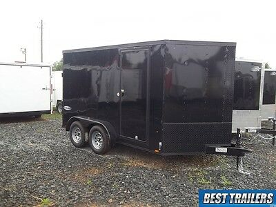 2017 7x12 blackout enclosed trailer double motorcycle extra height LED 7 x 12