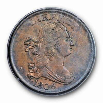 1806 Draped Bust Half Cent PCGS AU 50 Old Rattler Small 6, No Stems