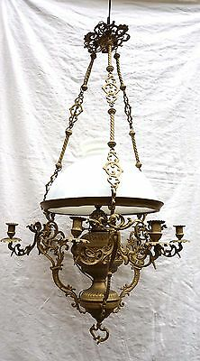 French Hanging Chandelier Oli Lamp White Shade Brass Large 45""