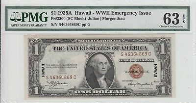 $1 1935-A Hawaii Ww2 Emergency Issue Silver Certificate Pmg 63 Epq