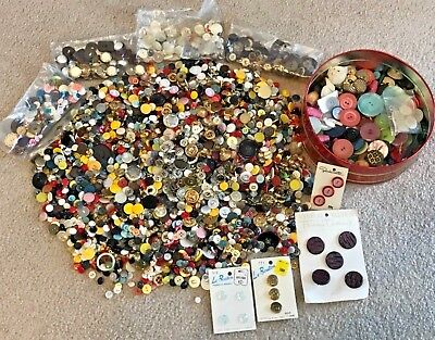 Large Vintage Antique Buttons Mixed Lot Metal Glass Bakelite Different Sizes