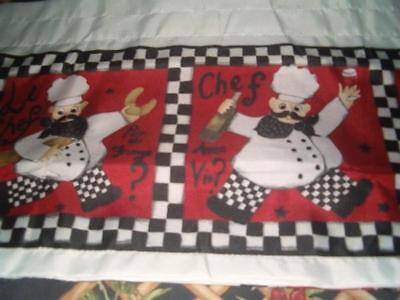 FAT BISTRO CHEF Kitchen Curtains Tier and Valance Set NEW 36' Long