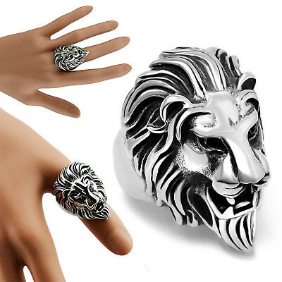Stainless Steel Lion's Head Ring Men's Vintage Cool Ring American Size 8-11 CHIC