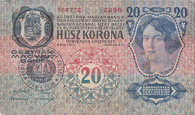 20 Kronen 1919 With 2 Stamp From Transylvania!rare!hungarian&romanian Issued!