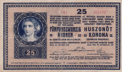 25 Kronen/korona Very Fine Note With A Stamp From Financial Directorate 1919!r