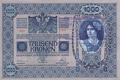 1000 Korona/kronen Ef From Shs Kingdom 1919 With A Contemporary Fake Stamp!