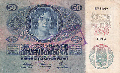50 Korona/kronen From Shs Kingdom 1919 With A Military Stamp!!