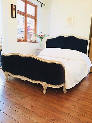 Kingsize French Vintage Bed Midnight Blue New Velvet Antique Corbeille Frame