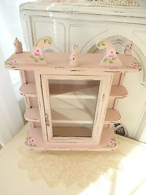 OH! PINK ROSE SHELF CABINET daSommer hp hand painted chic shabby vintage cottage