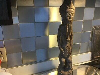 """Antique Baule Old African Dr Congo Priest Like Wood Statue 20"""""""