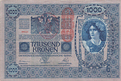 1000 Korona/kronen Ef From Shs Kingdom 1919 With A Contemporary Fake Stamp!!!