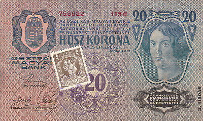 20 Korona/kronen Fine From Shs Kingdom 1919 With A Contemporary Fake Stamp!