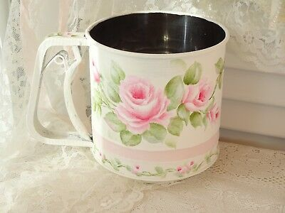 MOST ROMANTIC ROSE SIFTER daSommers hp hand painted chic shabby vintage cottage