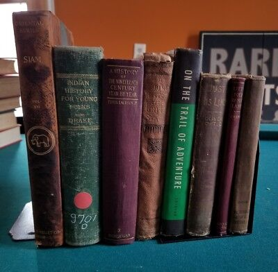 Lot of 8 Antique Vintage Late 1800s/Early 1900s Rare Old School Hardback Books