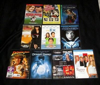 Lot of 10 DVDs Comedy Drama Action Sci-Fi Indiana Jones Donnie Darko Fever Pitch