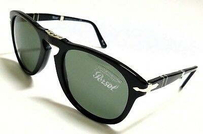 Authentic PERSOL Folding PO0714 95/31 Black/Grey Green Crystal 52mm Sunglasses