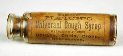 """Very Early! 100+ Yr Old Hatch's """"sample"""" Universal Cough Syrup Medicine Bottle"""