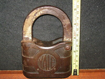 Vintage Antique Very Large Yale & Towne Padlock Lock 5x3.5 Heavy