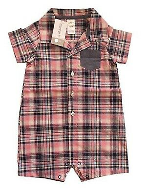 Carter's Baby Boy Size 12 Months Polo Romper, Plaid/Pink