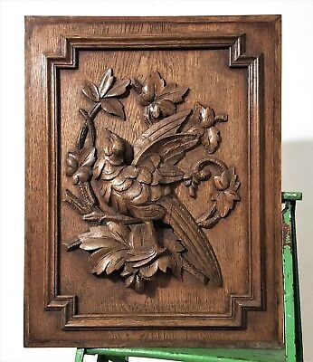 Hand Carved Wood Panel Antique French Country Hunt Hunting Carving Sculpture