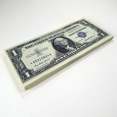 1957 $1 Silver Certificates 75 Consecutive Numbered Small Size Star Notes A4467