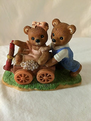 Homco/Home Interiors Porcelain Playtime Bears MIB #14067 Bears Riding A Wagon!!