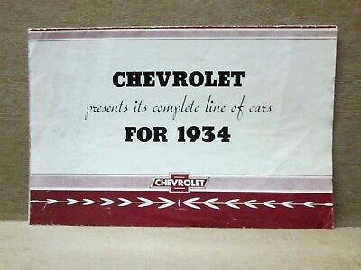1934 CHEVROLET FULL LINE of CARS, Original 4 Page Fold Out Illustrated Brochure