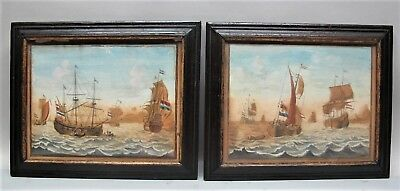 "Rare Pair of 17th C. DUTCH NAUTICAL Paintings  ""East India Trade Ships""  antique"