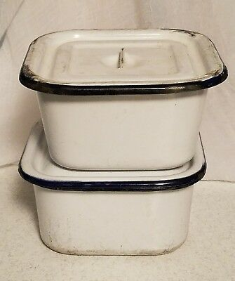 Vintage LOT OF 2 Enamel /Porcelain Dishes W/Lid Collection Planter Decorate