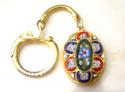 Vintage MICRO MOSAIC MILLEFIORE Keychain Key Chain Key Ring MADE IN ITALY
