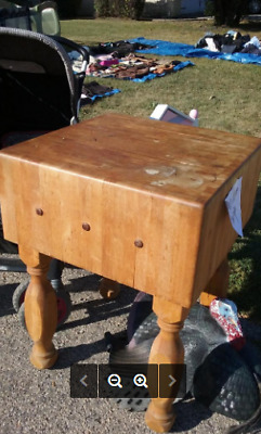 Butcher Block Counter Top Table W/ Legs- Guc! (Maple?) Local Pick Up Only!