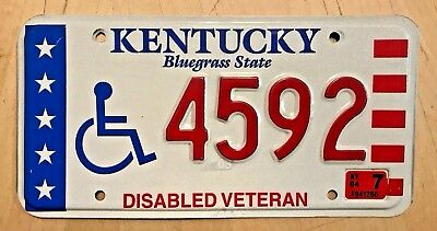 "Kentucky Dv  Disabled Veteran  Handicapped License Plate "" 4592 ""  Ky Wheelchair"