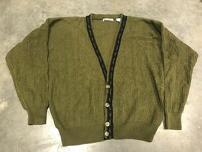 Vintage 90s BR Limited Cardigan Sweater Mens XL Olive Green Acrylic Retro Cobain