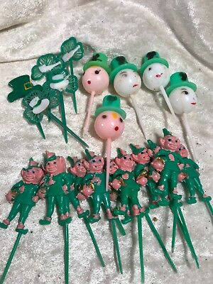Vintage St Patrick's Day Leprechaun Party Picks / Lot Of 20