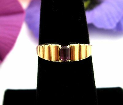 PURPLE BAGUETTE RHINESTONE RING Vintage Stepped Front Goldtone Size 6