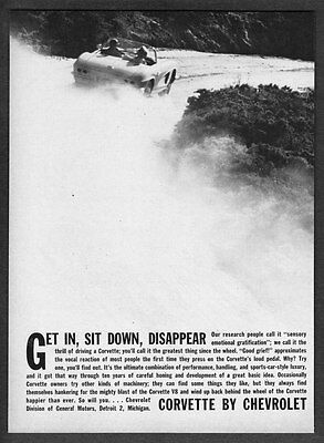 """1962 Chevrolet Corvette Convertible photo """"Get In & Disappear"""" vintage print ad"""