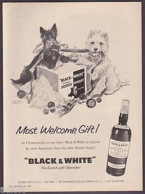 "1959 Scottish Terrier & Westie ""Christmas Gift"" Black & White Scotch print ad"