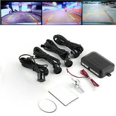 Auto 4 Parking Sensors LCD LED Display Car Reverse Radar System Alarm Kit Black