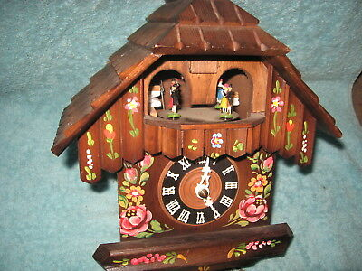 Older German Hand Painted Musical Cuckoo Clock With Dancers For Repair